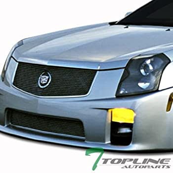 Topline Autopart Chrome Stainless Mesh Front Bumper Hood Grill Grille Cover Conversion + Emblem Badge Logo 03-07 Cadillac CTS