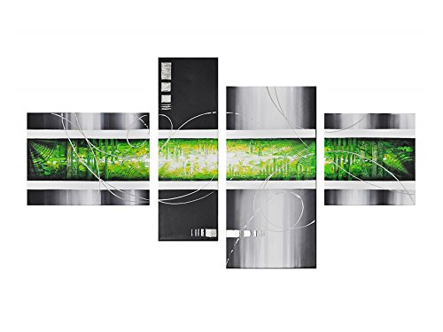 Noah Art Abstract Art Paintings, 100% Hand Painted Modern Abstract Oil Painting on Canvas, 4 Panel Wooden Framed Green Abstract Wall Art for Bedroom Wall Decor Ready to (Abstract Art Gallery)