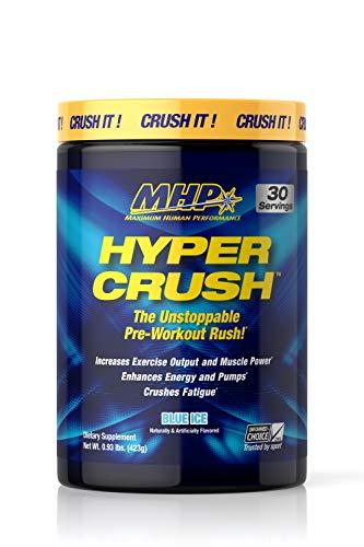 Maximum Human Performance MHP HYPER CRUSH Pre Workout energy drink, creatine, beta alanine, nitric oxide pump, citrulline, AKG, Blue Ice, 30 Servings