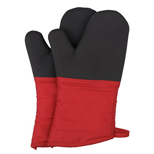 Magician Heat Resistant Oven Mitts - Non-Slip Grip Pot Holders for Kitchen Cooking Baking, up to 450˚F Heat Resistant, Heavy Duty Oven Gloves - 1 Pair (Red)