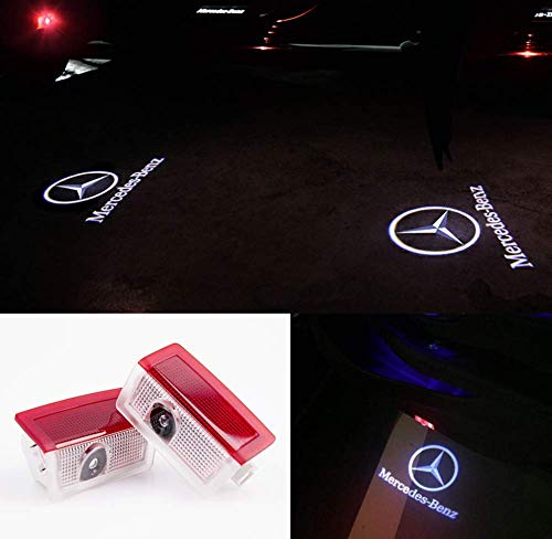 (Mercedes Benz E Class Accessory Wireless Welcome Emblem Lamp Car Door LED Logo Projector Ghost Shadow Courtesy Step Lights 3D Shadow Lights puddle lights E A C ML Class w212 w166 w176 Series 2 Pack)