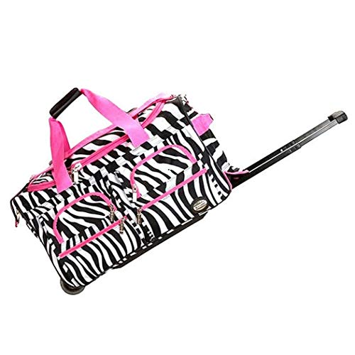 Single Piece Pink Small Wheeled Duffle Bag, Zebra Pattern, 22-Inch Carry On Rolling Upright, Softsided, Two Front Zipper, Polyester, Inline Skate Wheels Luggage, U-top Opening, Vibrant White
