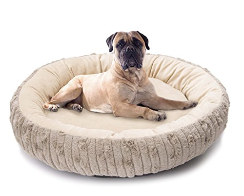 long rich Round Cute and Comforter Fur and Micro-Mink Fabric Pet Bed, Medium, Grey,by Happycare Textiles