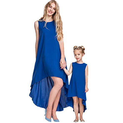 (Chiccc Parent-Child Shirt Dress Summer Sleeveless Ruffle High Low Asymmetrical Round Neck Loose Tops Blouse Irregular Dress Mommy Me Matching Dress)