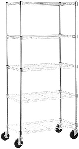 AmazonBasics 5-Shelf Shelving Unit on 4'' Casters, Chrome - Chrome Commercial Shelf