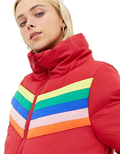 Aux Arc Ciel Manteau Rainbow Red Nouveau Rayure Pickle En Chocolate Veste Insérer Femmes Rembourré Conception 1wqgARE