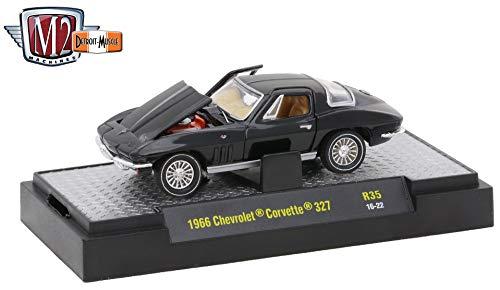 M2 Machines 1966 Chevrolet Corvette 327 (Gloss Black) - Detroit Muscle Release 35 2016 Castline Premium Edition 1:64 Scale Die-Cast Vehicle (R35 16-22)