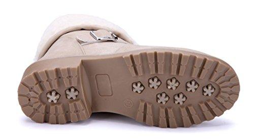 Schuhtempel24 Damen Schuhe Klassische Stiefeletten Stiefel Boots Blockabsatz Schnalle/Schlupf 4 cm Beige