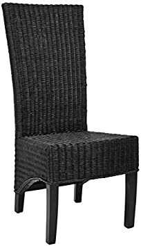 Safavieh Home Collection Aaron Black Wicker Side Chair, Set of 2