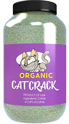 - Cat Crack Organic Catnip, Premium Blend Safe for Cats, Infused with Maximum Potency Your Kitty is Sure to Go Crazy for (4 Cups)