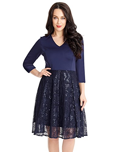 Lookbook Store LookbookStore Women's Navy Blue Sequin V Neck Casual Cocktail A Line Knee Length Dress Size Large (US 12-14)