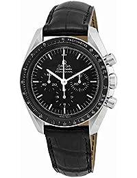 Speedmaster Chronograph Black Dial Black Leather Mens Watch 31133423001001