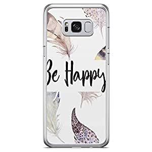 Samsung Galaxy S8 Transparent Edge Phone Case Happy Phone Case Boho Phone Case Bohemian Phone Case Feathers