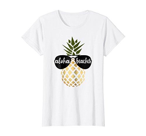 (Womens Aloha Beaches Pineapple Hawaiian Gold Bachelorette Shirt)