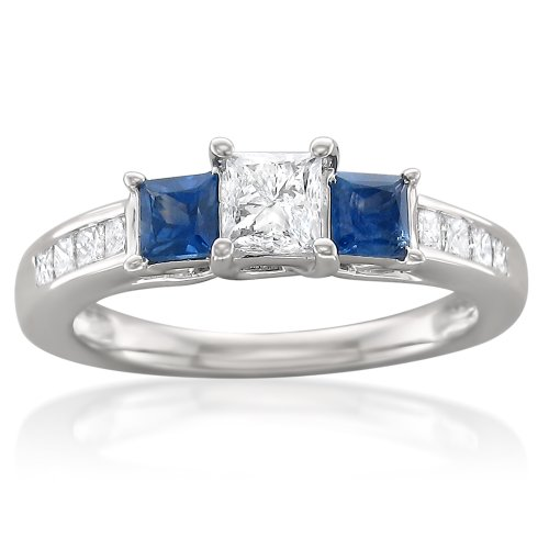 14k White Gold Princess-cut Three-Stone Diamond & Blue Sapphire Engagement Ring (1 1/7 cttw, I-J, I1-I2), Size 8