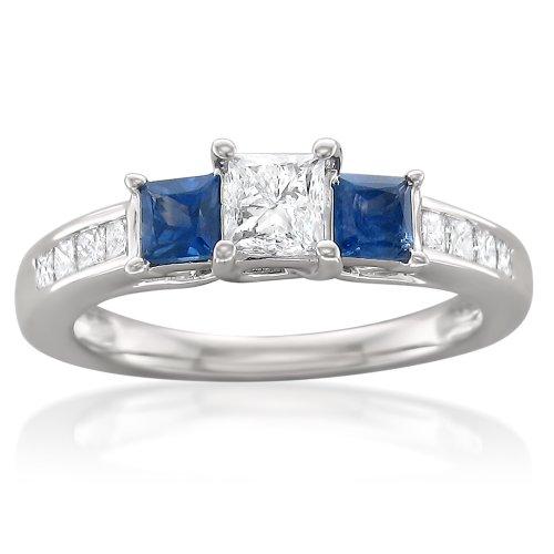 blue diamond ring princess cut - 6