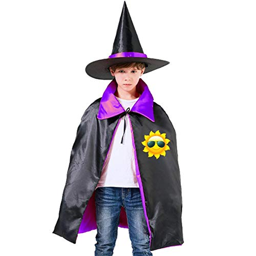 Kids Cloak Cool Sunshine Sun Wizard Witch Cap Hat Cape All Saints' Day DIY Costume Dress-up For Halloween Party Boys Girls -