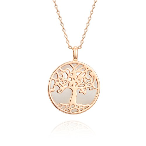 PAVOI 14K Rose Gold Plated Tree of Life Pendant Shell Pearl Necklace Pendant (Opal Shell Necklace)