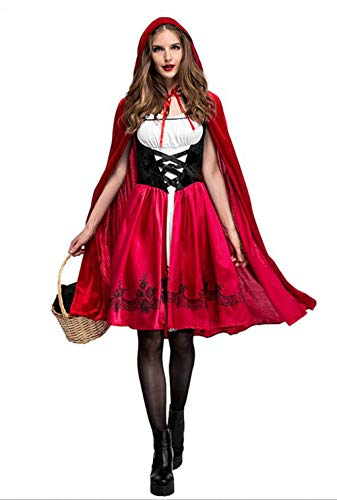 SAMCOS Halloween Little Red Riding Hood Costumes Dress Satin Robe Cosplay Costume for Women Adults (XXX-Large, Red)]()