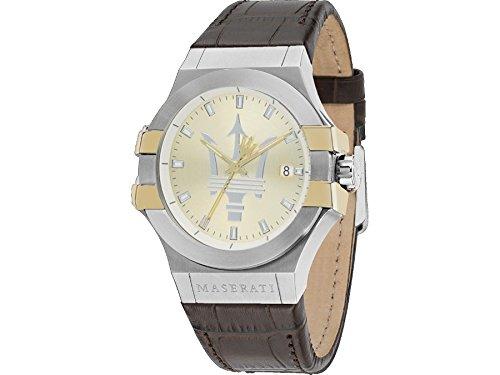 Maserati watch R8851108017 Potenza Leather Men Dorado Calendar