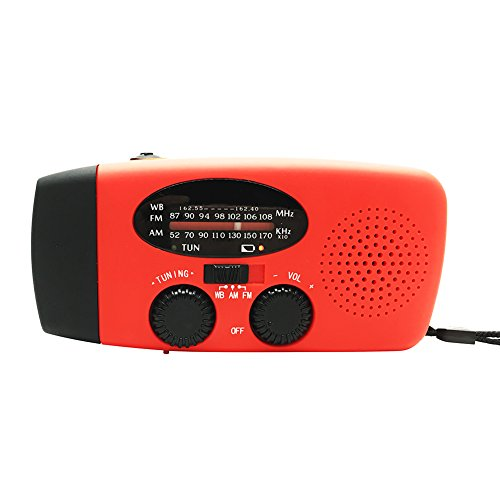 Solar Weather Radio,soled Solar Self Powered AM/FM/WB(NOAA) Radio w/ LED Flashlight, Cell Phone Charger w/ USB adaptors and cords