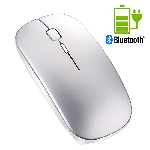 Windows Laser Enabled Bluetooth (Portable Rechargeable Wireless Bluetooth Mouse - Tsmine Mini Laser Gaming Mouse Mute Type Wireless Optical Mice Ergonomic Mouse for MacBook,Laptop,PC,Tablet(Not for iPad and iPhone) - Space Gray)