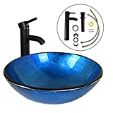 WALCUT Bathroom Jewelry Modern Round Artistic Glass Vessel Sink with Oil Rubbed Bronze Faucet and Pop-up Drain Combo, Blue