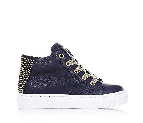 JARRETT - Blauer Sneaker aus Leder, seitlich ein Reißverschlussm, goldene Schnürsenkel, hinten Applikation von Nieten, Logo auf der Zunge, Mädchen
