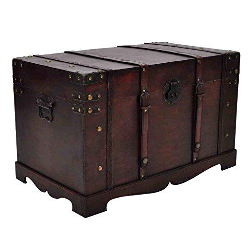 vidaXL Large Wooden Treasure Storage Thunk Blanket Steamer Chest Vintage Antique Style by vidaXL