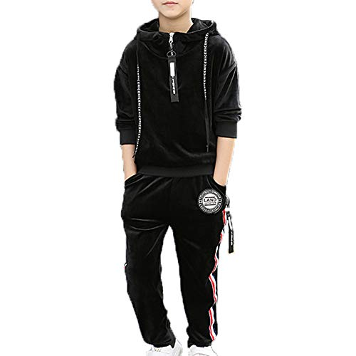Monvecle Toddler to Big Boys' 2 Piece Long Sleeve Soft Velour Hoodie Tracksuit Top + Sweatpant Jogger Sets Black 10-11