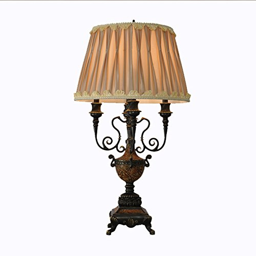 Neo-Classical Pastoral Bedroom Warm Table Lamp, Shabby Chic Traditional台灯,Carved Resin Luxury, Vintage Style Folding Fabric Shade, Living Room Decoration Table Lamp - Folding Shabby Table