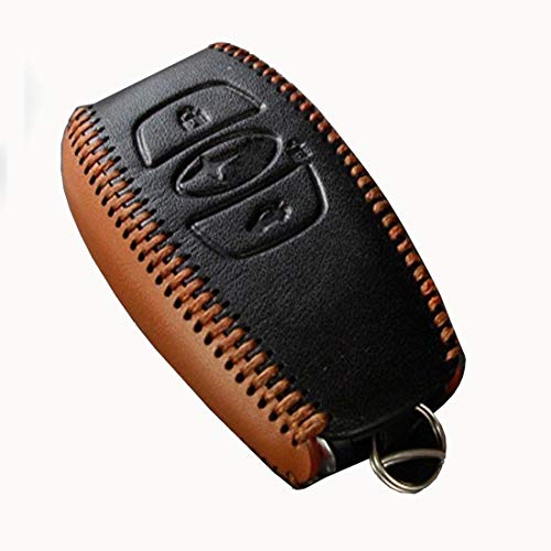KMT Genuine Leather Car Remote Key Fob Case Holder Cover Shell fit Subaru Outback XV Forester Legecy Smart Key (Black+Brown Leather)
