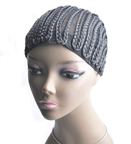 2 Pieces Super Elastic Cornrow Cap For Weave Crochet Braid Wig Caps For Making Wigs Top Quality Weaving Braid Cap Wig Net Ross Beauty (Middle)