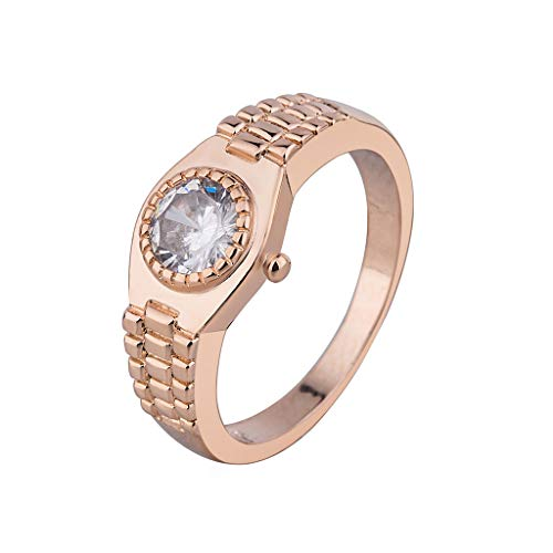 Watch Style Ring, Haluoo Round Cubic Zirconia Solitaire Wedding Engagement Rings Sterling Silver CZ Simulated Diamond Statement Promise Watch Ring for Women Men (7, Rose Gold)