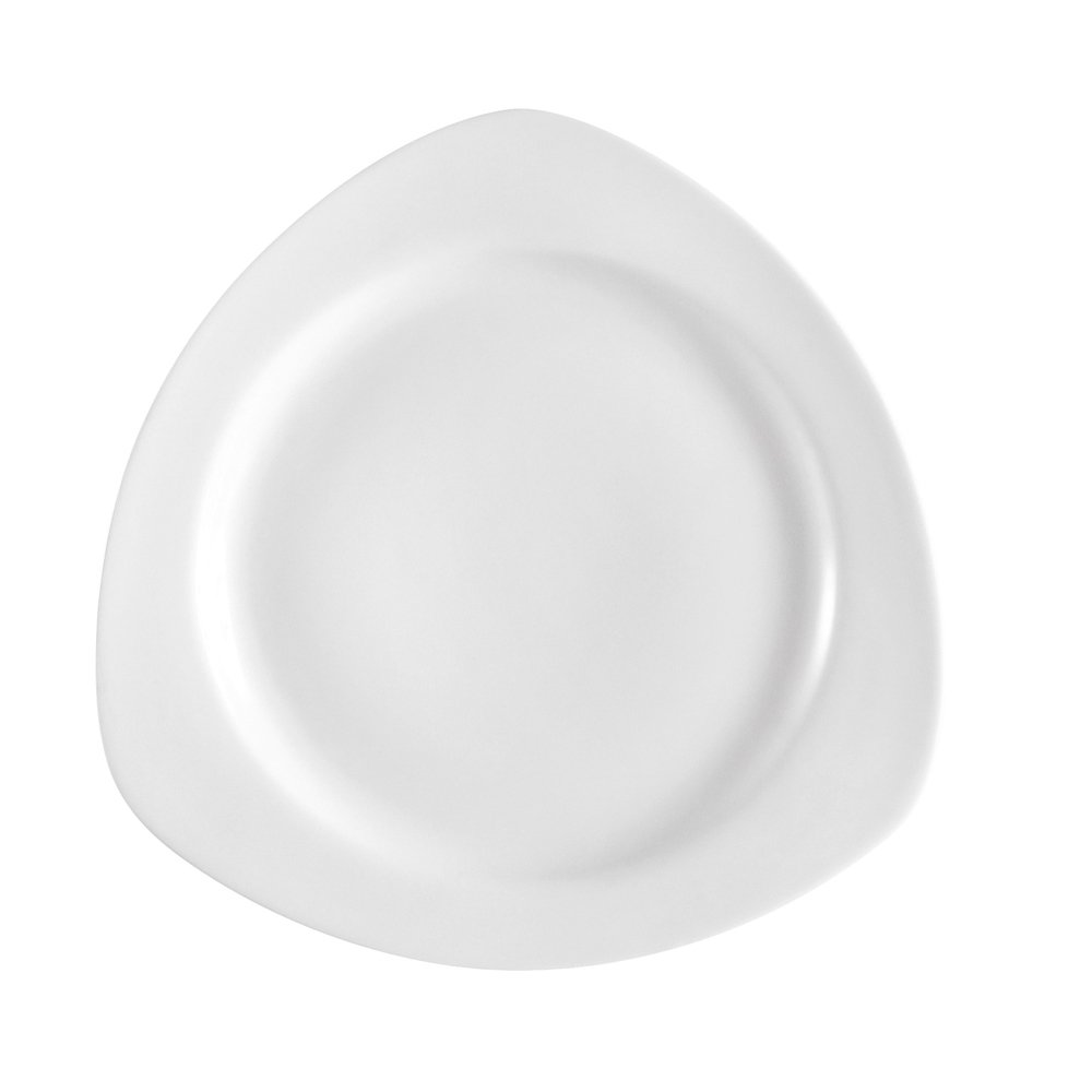 CAC China CPT-3 12-Ounce Porcelain Round in Triangle Soup Bowl, 9-Inch, Super White, Box of 24