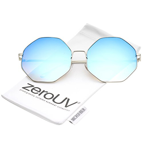 zeroUV - Oversize Metal Frame Slim Temple Colored Mirror Lens Hexagon Sunglasses 63mm (Silver / Blue - Sunglasses Asos