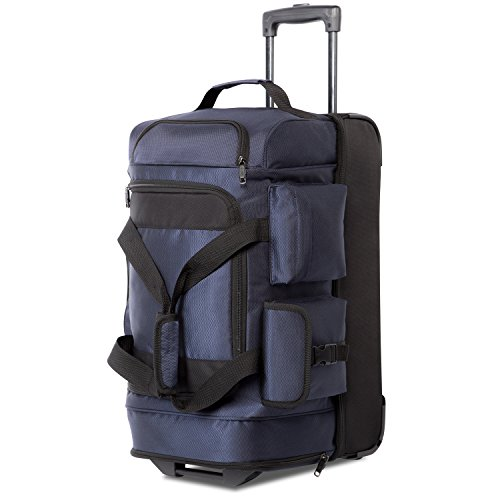 22 Wheeled Bag - Coolife Rolling Duffel Travel Duffel Bag Wheeled Duffel Carry-on/Cabin Size 8 Pockets
