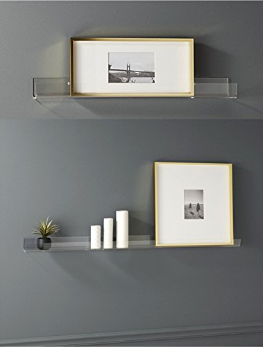 Acrylic Contemporary (Clear Contemporary Floating Shelves - (2 Pack) 15 Inches Acrylic Bathroom Shelf Set, Nail Polish Organizer Cosmetics Makeup Spice Rack, Storage Shelves Non Wooden Wall Decor Hanging Bookshelf Display)