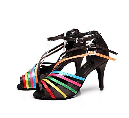 Salsa Heelsdiy Latino Samba Zapatos Sandals De heeled7 Mujer EU37 Our38 Dance UK5 Chacha Para C JSHOE Tango 5cm Jazz Baile High Modern wqggY