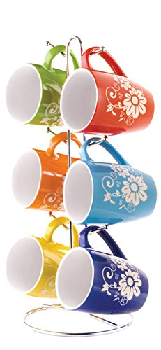 Home Basics 6 Piece 11 Ounce Floral Ceramic Mug Set with Dis
