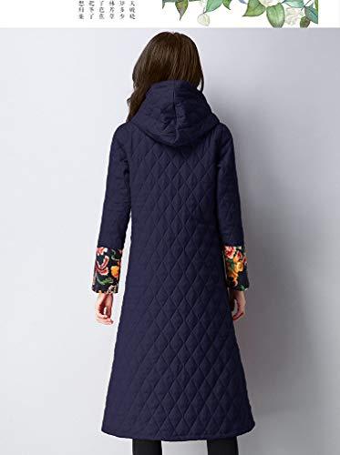 nationale en grande Manteaux Veste pour de femmes veste Vitila long coton bleu taille manteau manteau YxxEUw