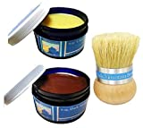 Chalk Mountain Brushes & Waxes - 100% All Natural 4 oz. Clear & 4 oz. Dark Antiquing Wax Finishing Kit with Palm Wax Brush -