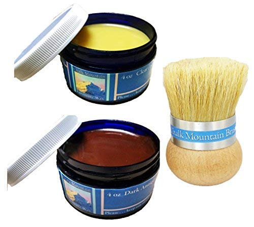 Chalk Mountain Brushes & Waxes - 100% All Natural 4 oz. Clear & 4 oz. Dark Antiquing Wax Finishing Kit with Palm Wax Brush - by Chalk Mountain Brushes (Image #7)