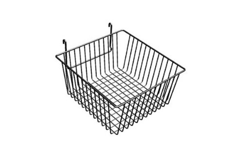 12'' x 12'' x 6''H Shallow Gridwall Basket White 3 Pcs - Work For Grid Panels by The Competitive Store