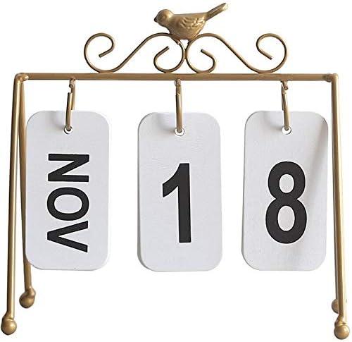 Persönlichkeit DIY Vogel Schmiedeeisen Flip Kalender Home Schreibtisch Dekoration Tischkalender im Stil Café Studie Fotografie Prop gold