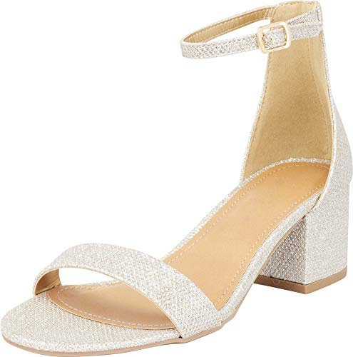 Cambridge Select Women's Single Band Open Toe Buckled Ankle Strap Chunky Block Mid Heel Sandal (10 B(M) US, Nude Glitter)