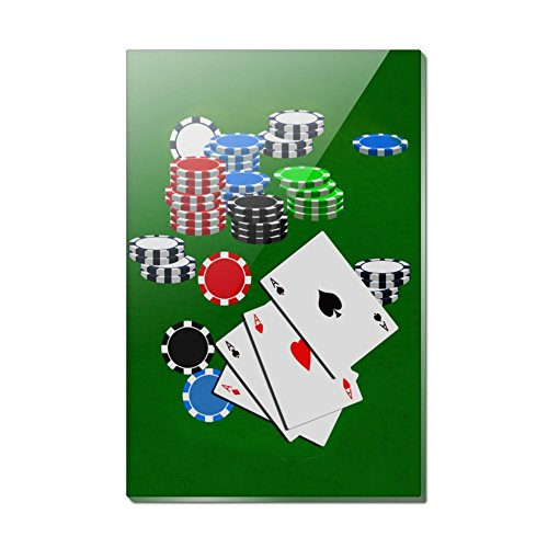 Poker Chip Magnet - Poker Aces Cards Chips Gambling Rectangle Acrylic Fridge Refrigerator Magnet