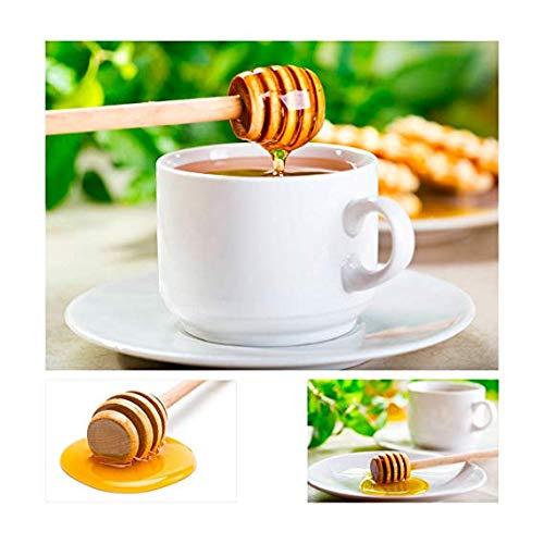 Egtu 4 Inch Mini Wood Honey Dipper Sticks 30 pcs Portable Wooden Jam Honey Dipper Honey Sticks for Honey Jar Dispense Drizzle Honey