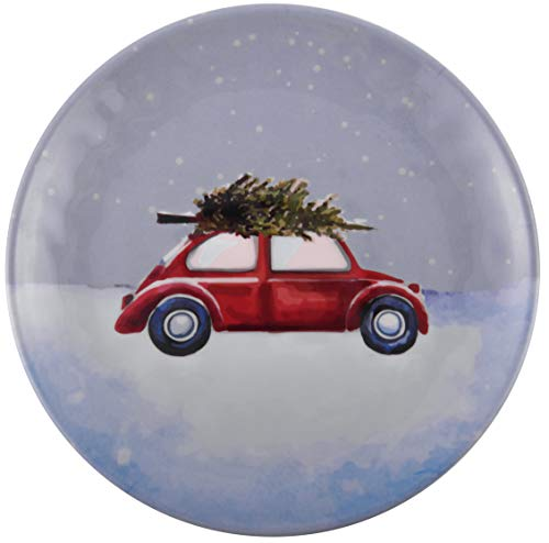 Melange 608410091504 6 -Piece 100% Melamine Dinner Plates Christmas Collection-Tree on Van Shatter-Proof and Chip-Resistant|, 10.5
