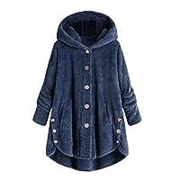 Cuekondy Hooded Faux Fur Coats for Women Winter Long Teddy Bear Jacket Button Down Fluffy Peacoat Outwear